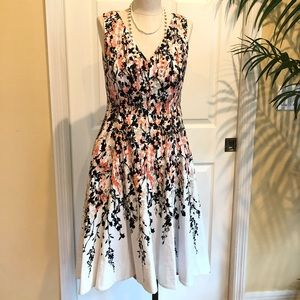NWOT B&W with coral floral fit n flare dress